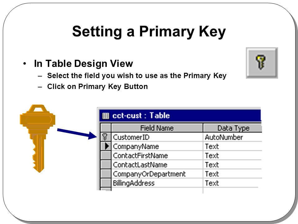 Setting a Primary Key In Table Design View –Select the field you wish to use as the Primary Key –Click on Primary Key Button