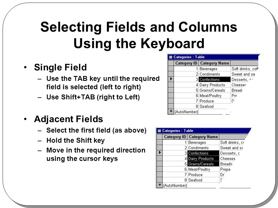 Selecting Fields and Columns Using the Keyboard Single Field –Use the TAB key until the required field is selected (left to right) –Use Shift+TAB (right to Left) Adjacent Fields –Select the first field (as above) –Hold the Shift key –Move in the required direction using the cursor keys