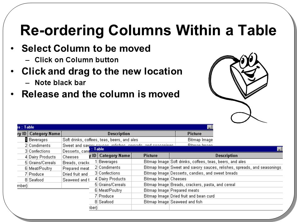 Re-ordering Columns Within a Table Select Column to be moved –Click on Column button Click and drag to the new location –Note black bar Release and the column is moved