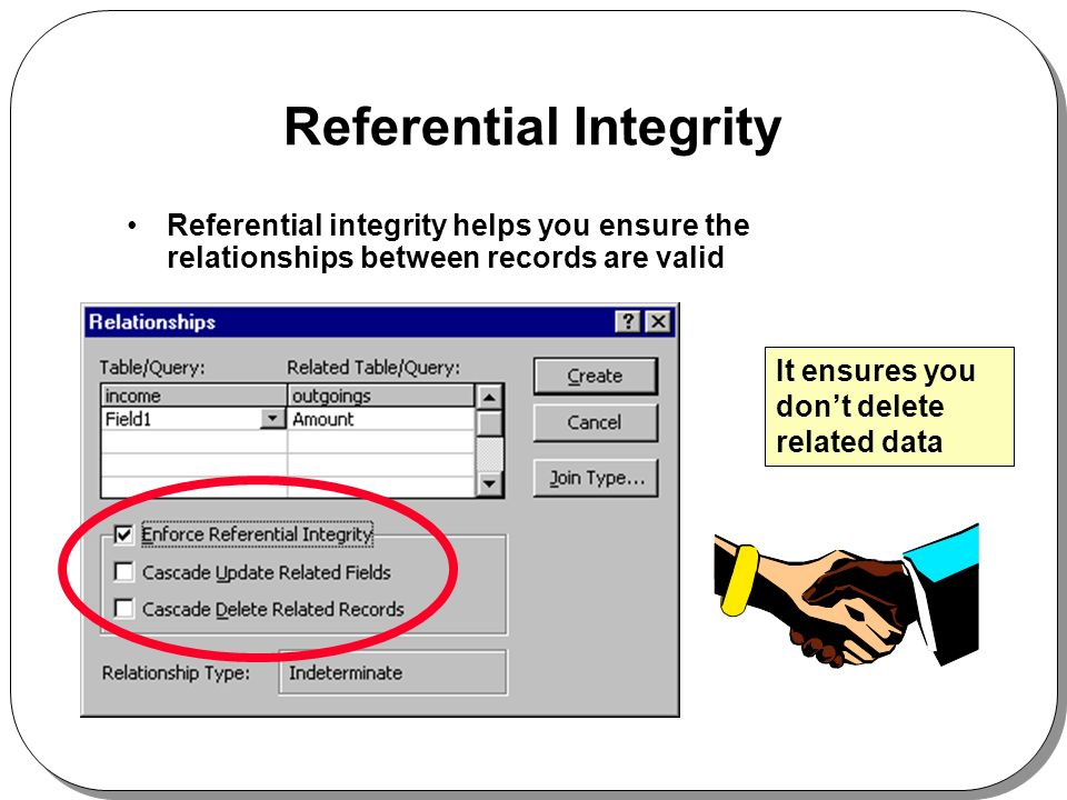 Referential Integrity Referential integrity helps you ensure the relationships between records are valid It ensures you dont delete related data