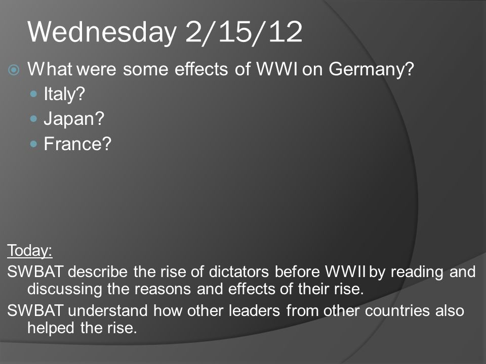 Wednesday 2/15/12 What were some effects of WWI on Germany.