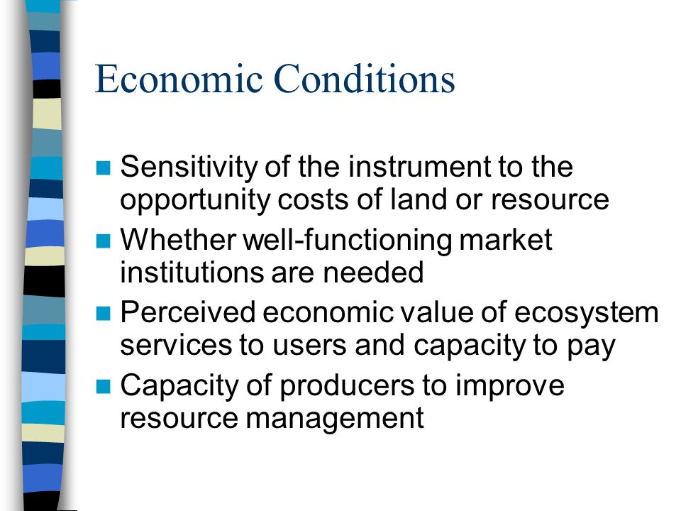 Economic Conditions Sensitivity of the instrument to the opportunity costs of land or resource Whether well-functioning market institutions are needed Perceived economic value of ecosystem services to users and capacity to pay Capacity of producers to improve resource management