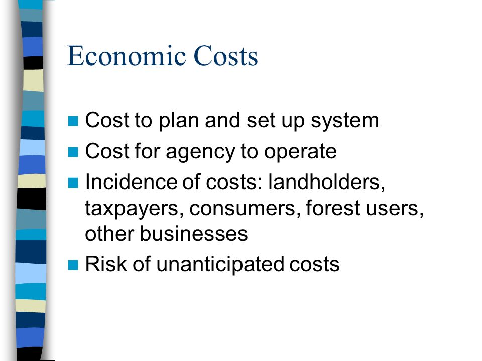 Economic Costs Cost to plan and set up system Cost for agency to operate Incidence of costs: landholders, taxpayers, consumers, forest users, other businesses Risk of unanticipated costs
