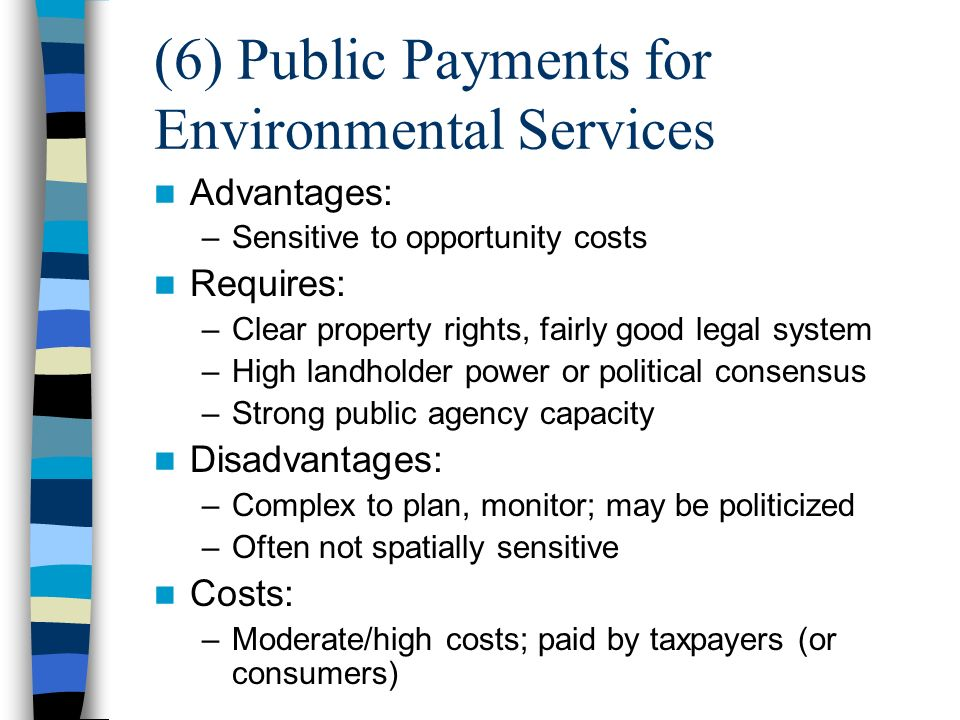 (6) Public Payments for Environmental Services Advantages: –Sensitive to opportunity costs Requires: –Clear property rights, fairly good legal system –High landholder power or political consensus –Strong public agency capacity Disadvantages: –Complex to plan, monitor; may be politicized –Often not spatially sensitive Costs: –Moderate/high costs; paid by taxpayers (or consumers)