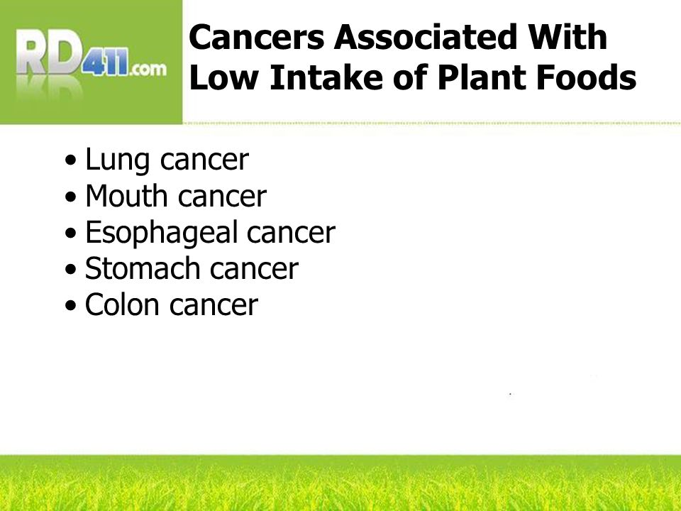 Lung cancer Mouth cancer Esophageal cancer Stomach cancer Colon cancer Cancers Associated With Low Intake of Plant Foods
