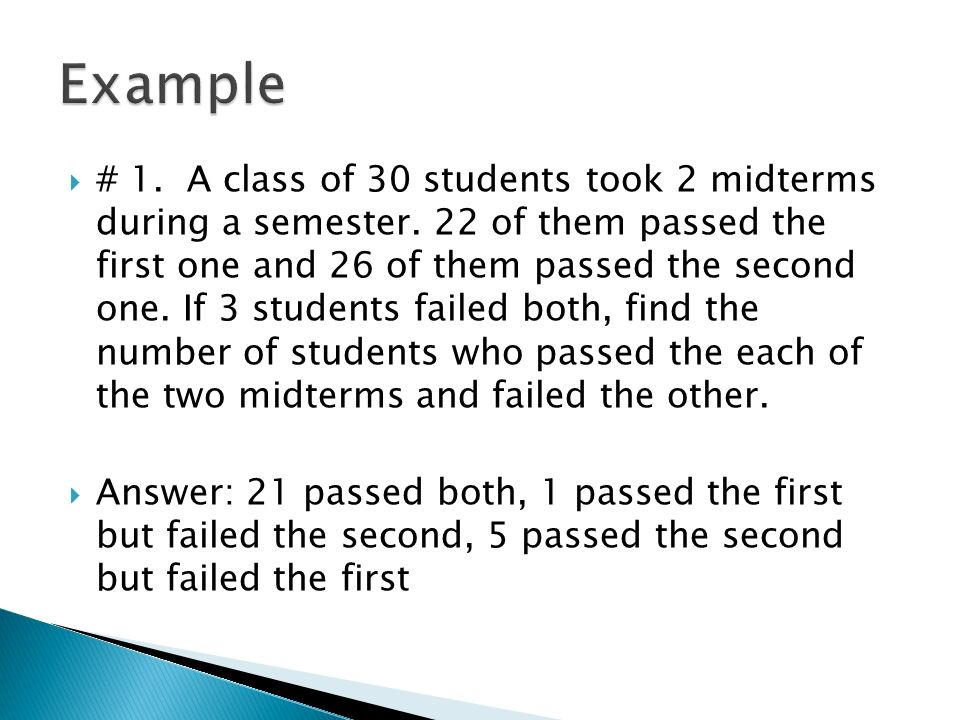 # 1. A class of 30 students took 2 midterms during a semester.