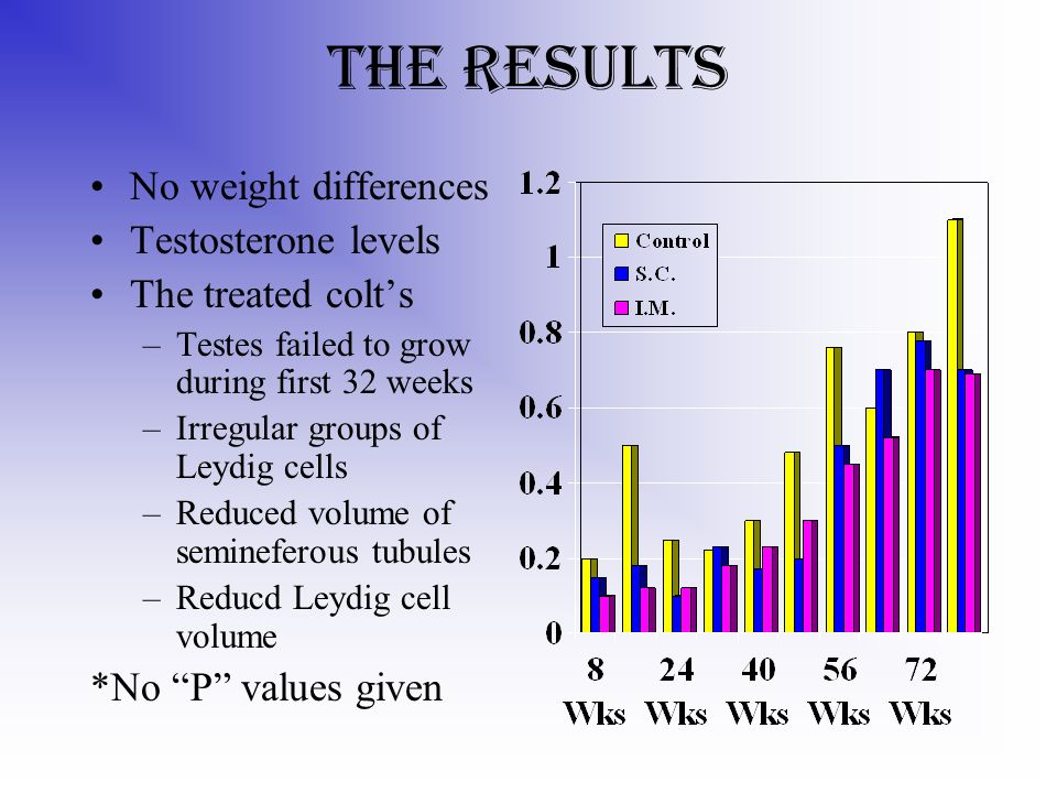 The Results No weight differences Testosterone levels The treated colts –Testes failed to grow during first 32 weeks –Irregular groups of Leydig cells –Reduced volume of semineferous tubules –Reducd Leydig cell volume *No P values given