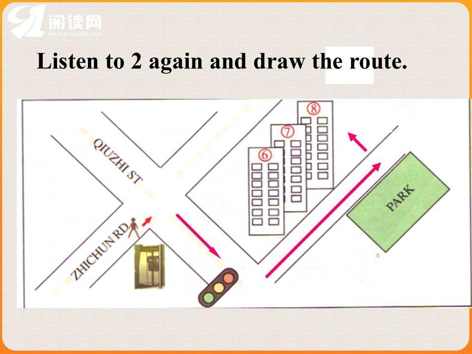 Listen to 2 again and draw the route.