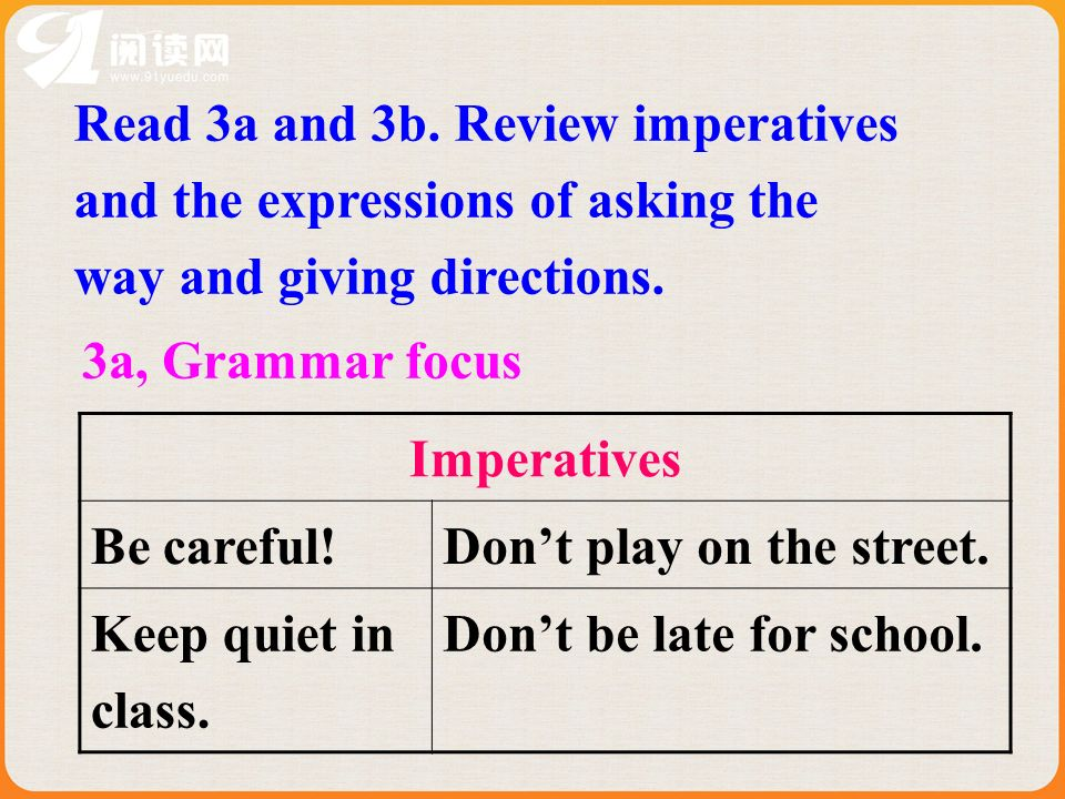 3a, Grammar focus Imperatives Be careful!Dont play on the street.