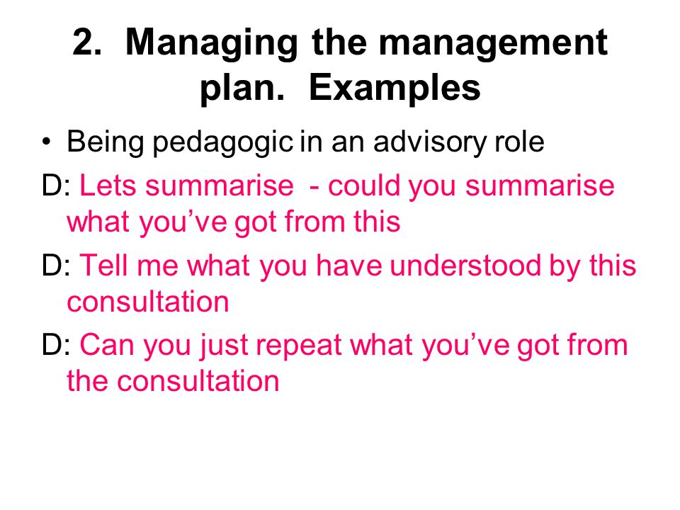 2. Managing the management plan.