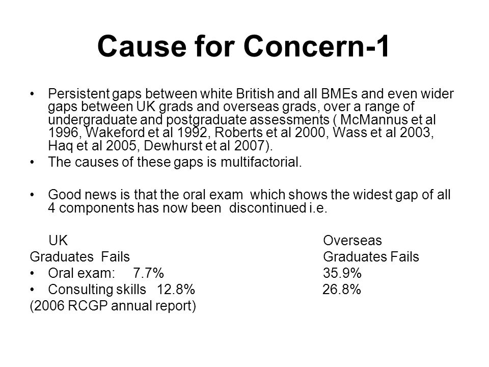 Cause for Concern-1 Persistent gaps between white British and all BMEs and even wider gaps between UK grads and overseas grads, over a range of undergraduate and postgraduate assessments ( McMannus et al 1996, Wakeford et al 1992, Roberts et al 2000, Wass et al 2003, Haq et al 2005, Dewhurst et al 2007).
