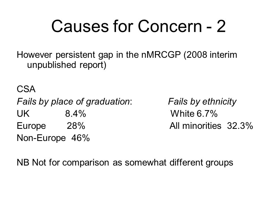 Causes for Concern - 2 However persistent gap in the nMRCGP (2008 interim unpublished report) CSA Fails by place of graduation: Fails by ethnicity UK 8.4% White 6.7% Europe 28% All minorities 32.3% Non-Europe 46% NB Not for comparison as somewhat different groups