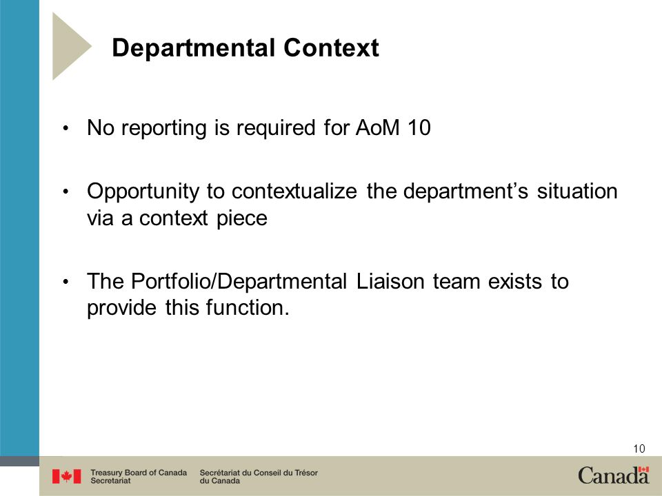10 Departmental Context No reporting is required for AoM 10 Opportunity to contextualize the departments situation via a context piece The Portfolio/Departmental Liaison team exists to provide this function.