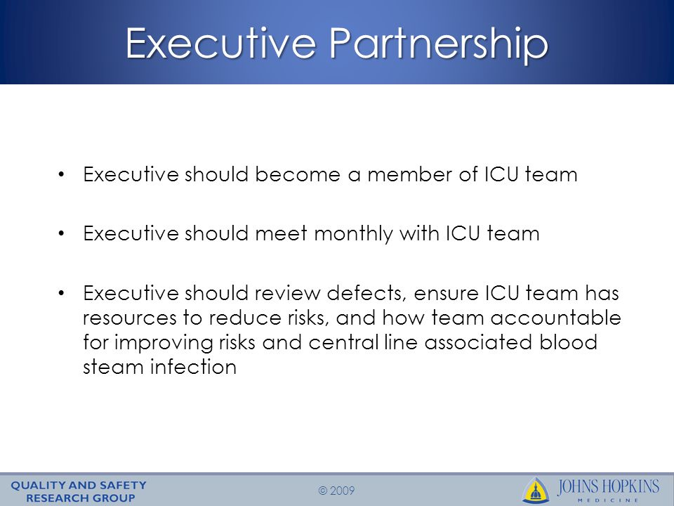 © 2009 Executive Partnership Executive should become a member of ICU team Executive should meet monthly with ICU team Executive should review defects, ensure ICU team has resources to reduce risks, and how team accountable for improving risks and central line associated blood steam infection