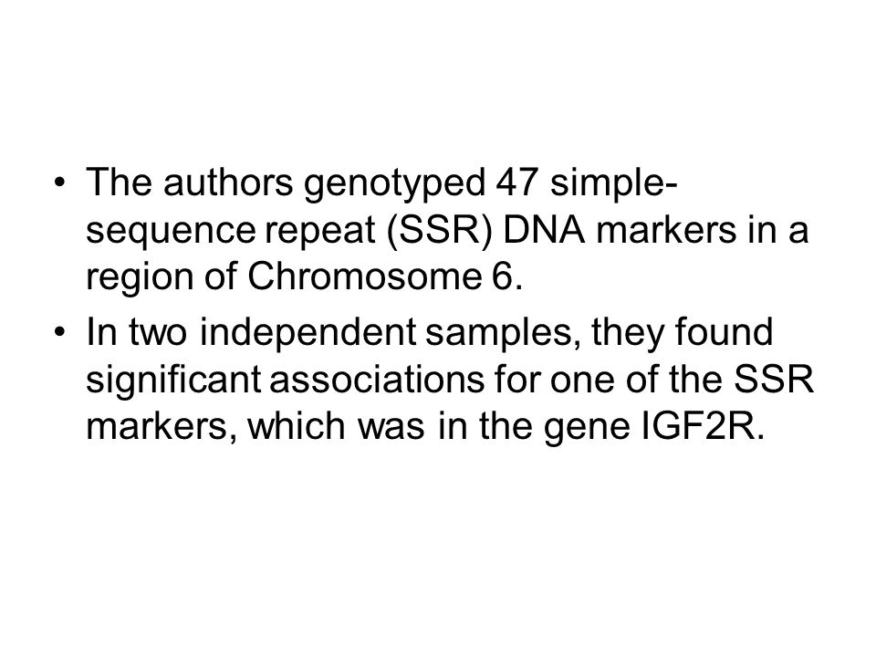 The authors genotyped 47 simple- sequence repeat (SSR) DNA markers in a region of Chromosome 6.