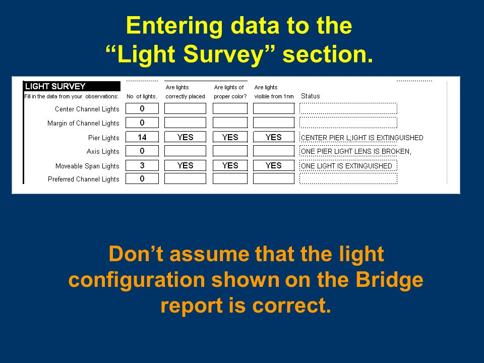 Reporting and marking discrepancies Lights out Broken Pier Light Lens Flow Down River Always include a top and side view drawing of the bridge with your report.
