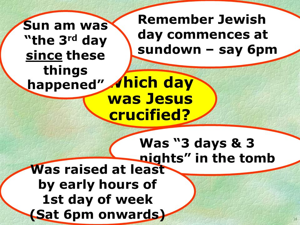 16 Which day was Jesus crucified.