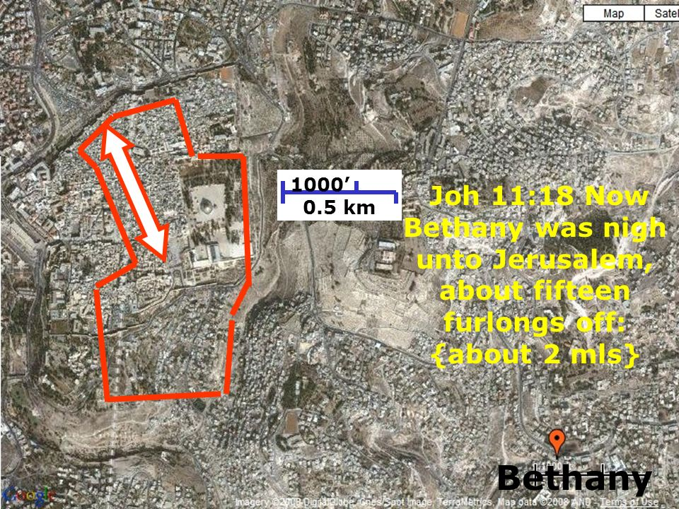181 1000 0.5 km Joh 11:18 Now Bethany was nigh unto Jerusalem, about fifteen furlongs off: {about 2 mls} Bethany