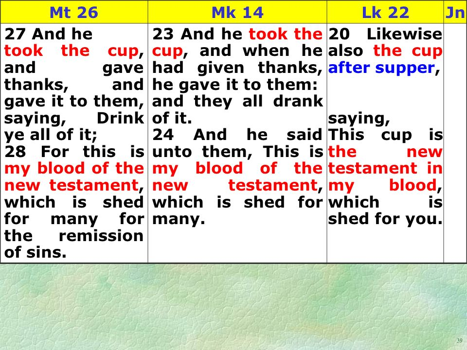 39 Mt 26Mk 14Lk 22Jn 27 And he took the cup, and gave thanks, and gave it to them, saying, Drink ye all of it; 28 For this is my blood of the new testament, which is shed for many for the remission of sins.