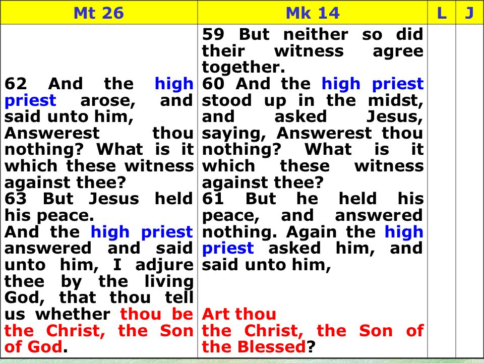 84 Mt 26Mk 14LJ 62 And the high priest arose, and said unto him, Answerest thou nothing.