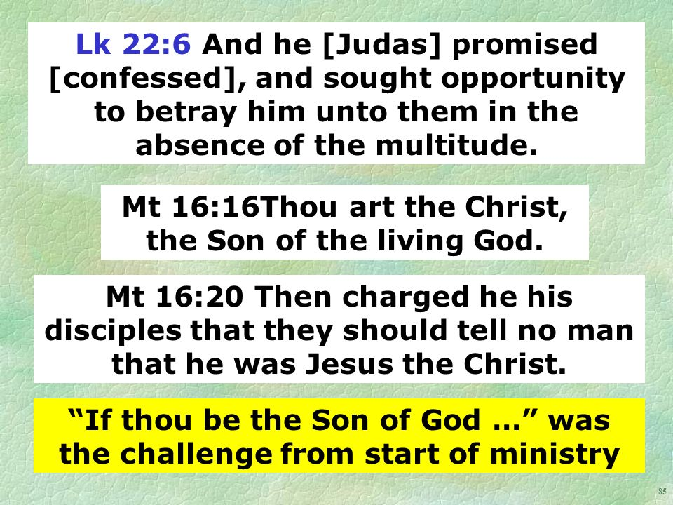 85 Lk 22:6 And he [Judas] promised [confessed], and sought opportunity to betray him unto them in the absence of the multitude.
