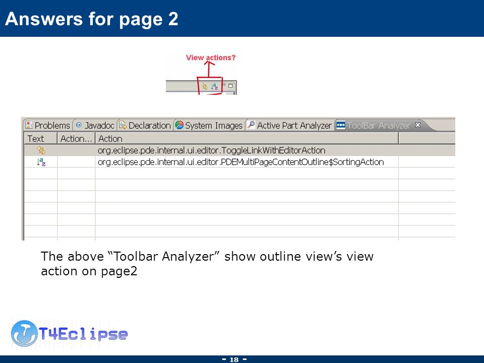 Answers for page 2 The above Toolbar Analyzer show outline views view action on page2