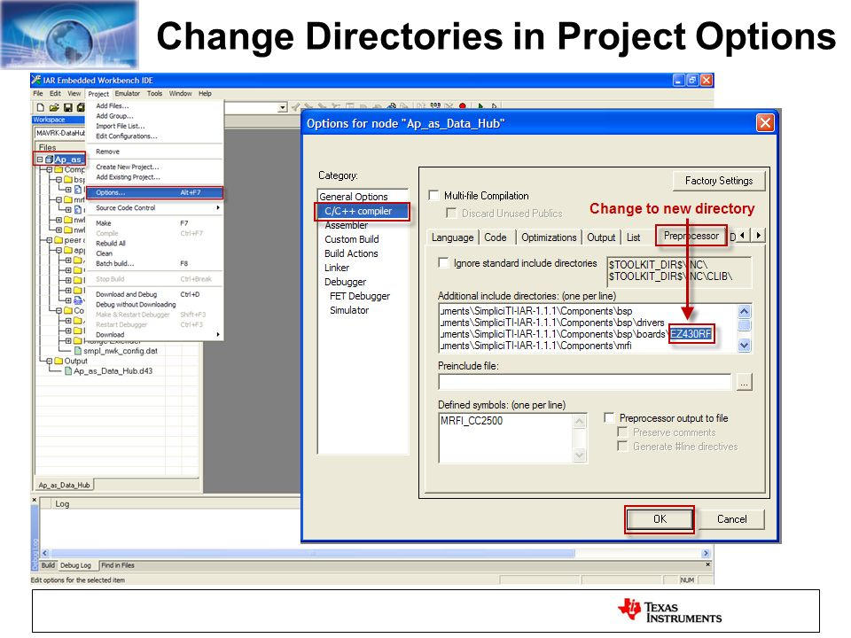 Change Directories in Project Options