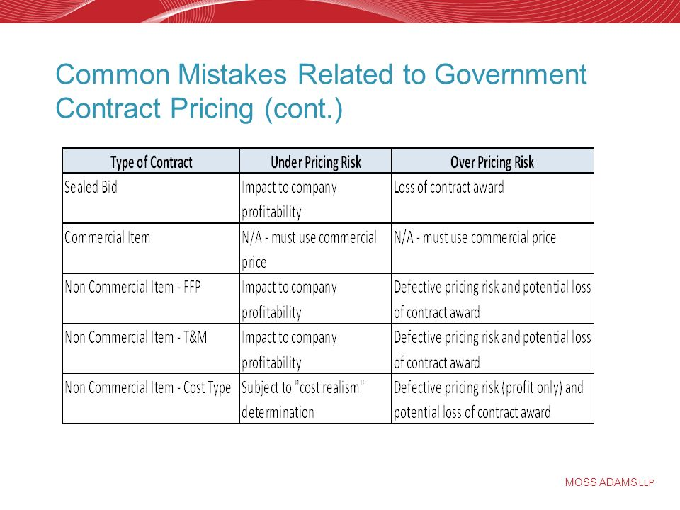 MOSS ADAMS LLP Common Mistakes Related to Government Contract Pricing (cont.)