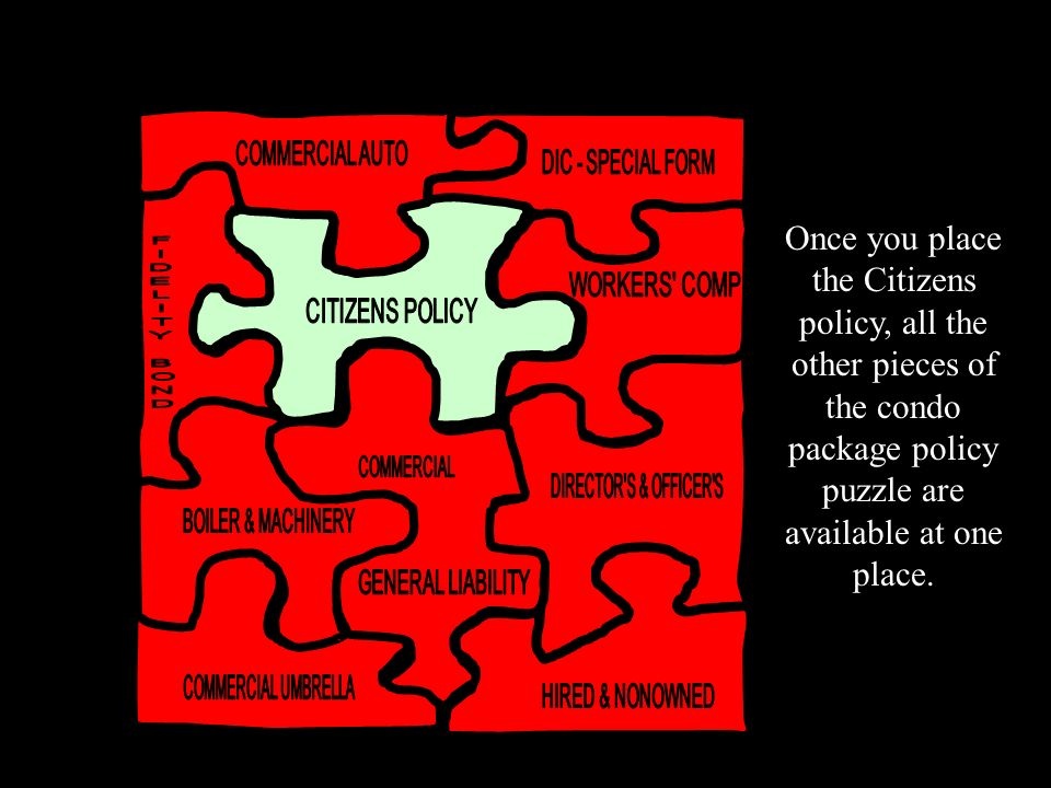 Once you place the Citizens policy, all the other pieces of the condo package policy puzzle are available at one place.