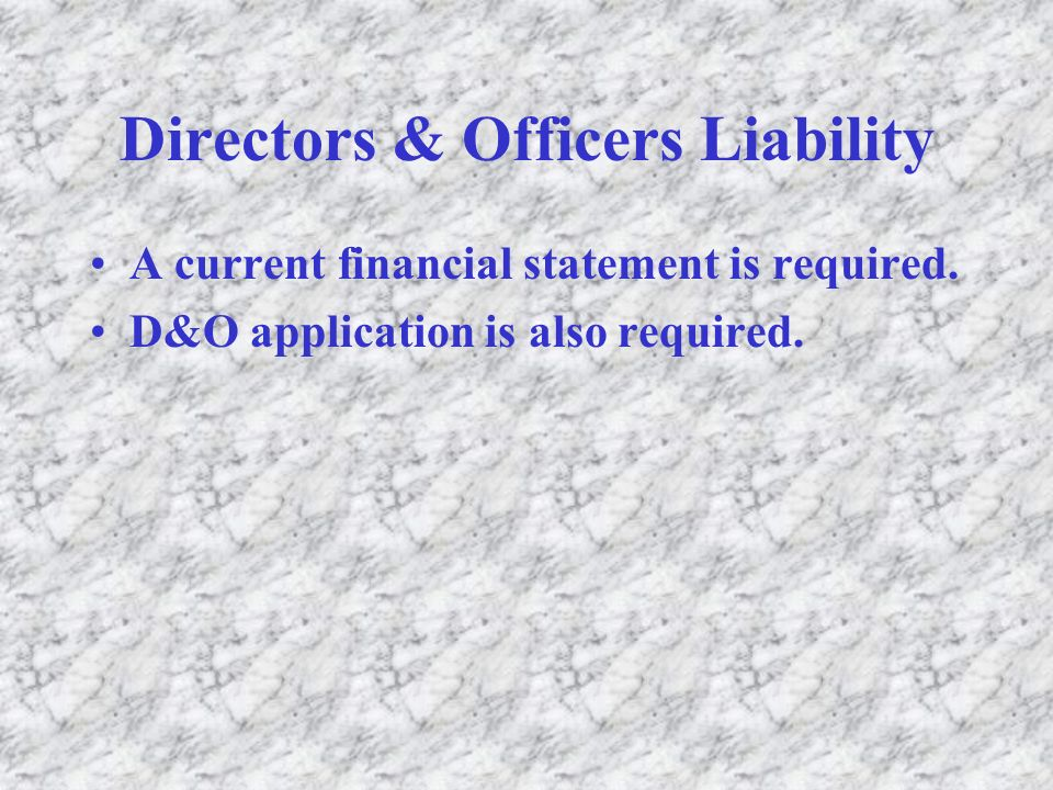 Directors & Officers Liability A current financial statement is required.