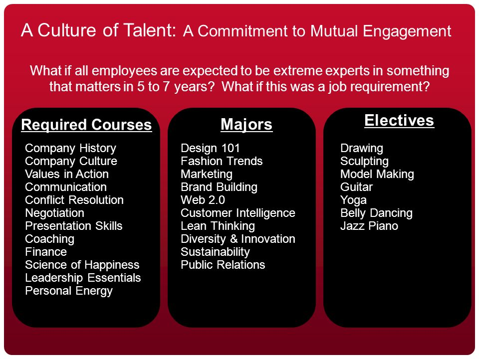 © 2010 REALeadership Alliance and Will Marre A Culture of Talent: A Commitment to Mutual Engagement What if all employees are expected to be extreme experts in something that matters in 5 to 7 years.