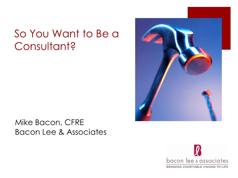 So You Want to Be a Consultant Mike Bacon, CFRE Bacon Lee & Associates
