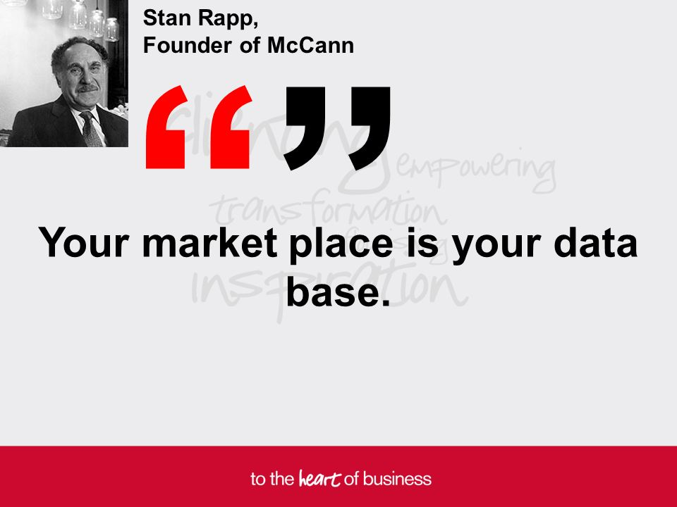 Your market place is your data base. Stan Rapp, Founder of McCann