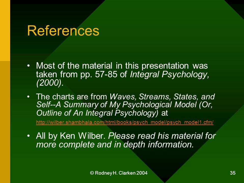 © Rodney H. Clarken 2004 35 References Most of the material in this presentation was taken from pp.