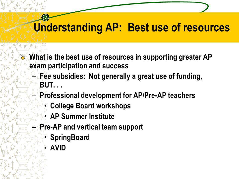 Understanding AP: Best use of resources What is the best use of resources in supporting greater AP exam participation and success – Fee subsidies: Not generally a great use of funding, BUT...