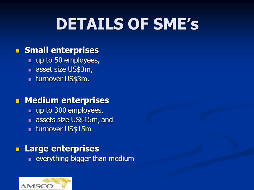DETAILS OF SMEs Small enterprises Small enterprises up to 50 employees, up to 50 employees, asset size US$3m, asset size US$3m, turnover US$3m.