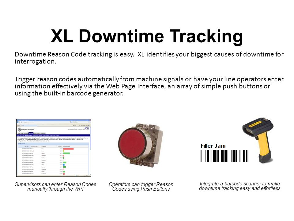 XL Downtime Tracking Downtime Reason Code tracking is easy.