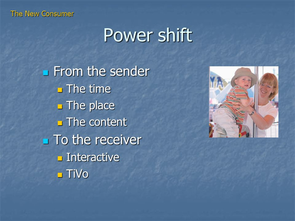 Power shift From the sender From the sender The time The time The place The place The content The content To the receiver To the receiver Interactive Interactive TiVo TiVo The New Consumer