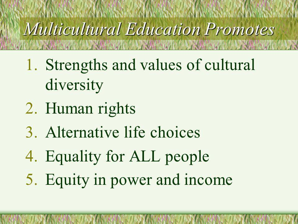 Multicultural Education Promotes 1.Strengths and values of cultural diversity 2.Human rights 3.Alternative life choices 4.Equality for ALL people 5.Equity in power and income