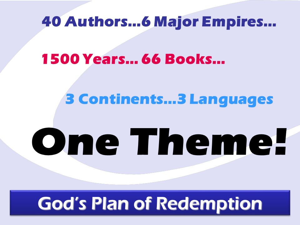 1500 Years… 66 Books… 40 Authors…6 Major Empires… 3 Continents…3 Languages Gods Plan of Redemption One Theme!