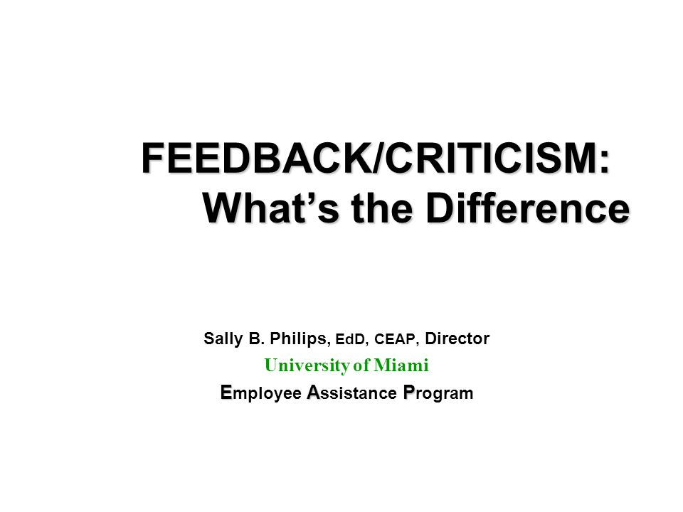 FEEDBACK/CRITICISM: Whats the Difference Sally B.