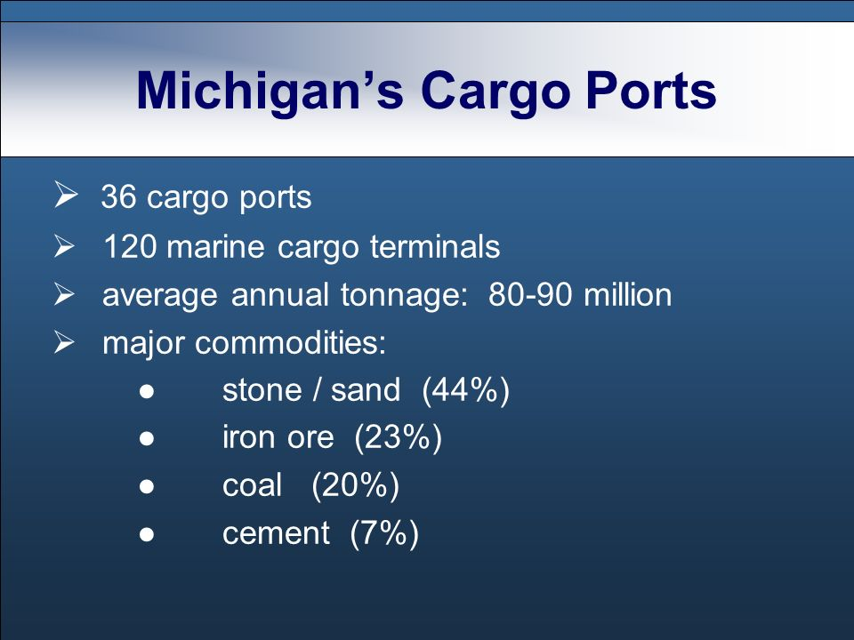 36 cargo ports 120 marine cargo terminals average annual tonnage: million major commodities: stone / sand (44%) iron ore (23%) coal (20%) cement (7%)