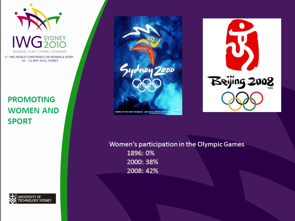 PROMOTING WOMEN AND SPORT Womens participation in the Olympic Games 1896: 0% 2000: 38% 2008: 42%