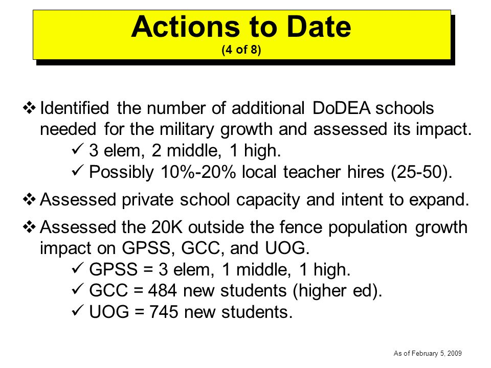 -----DRAFT----- As of February 5, 2009 Identified the number of additional DoDEA schools needed for the military growth and assessed its impact.