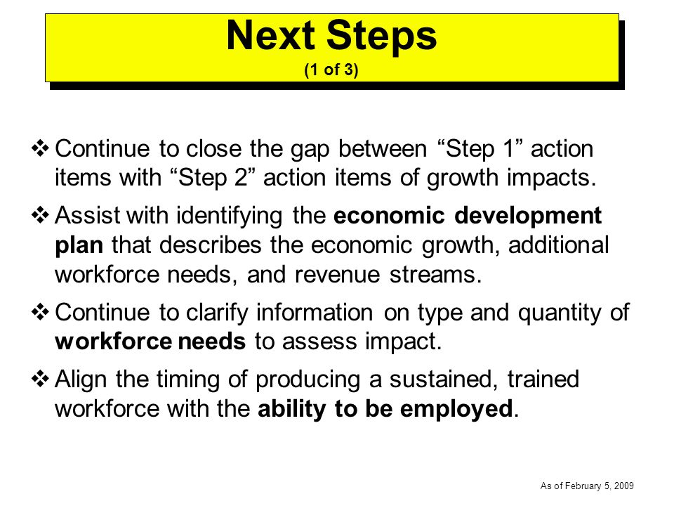 -----DRAFT----- As of February 5, 2009 Continue to close the gap between Step 1 action items with Step 2 action items of growth impacts.