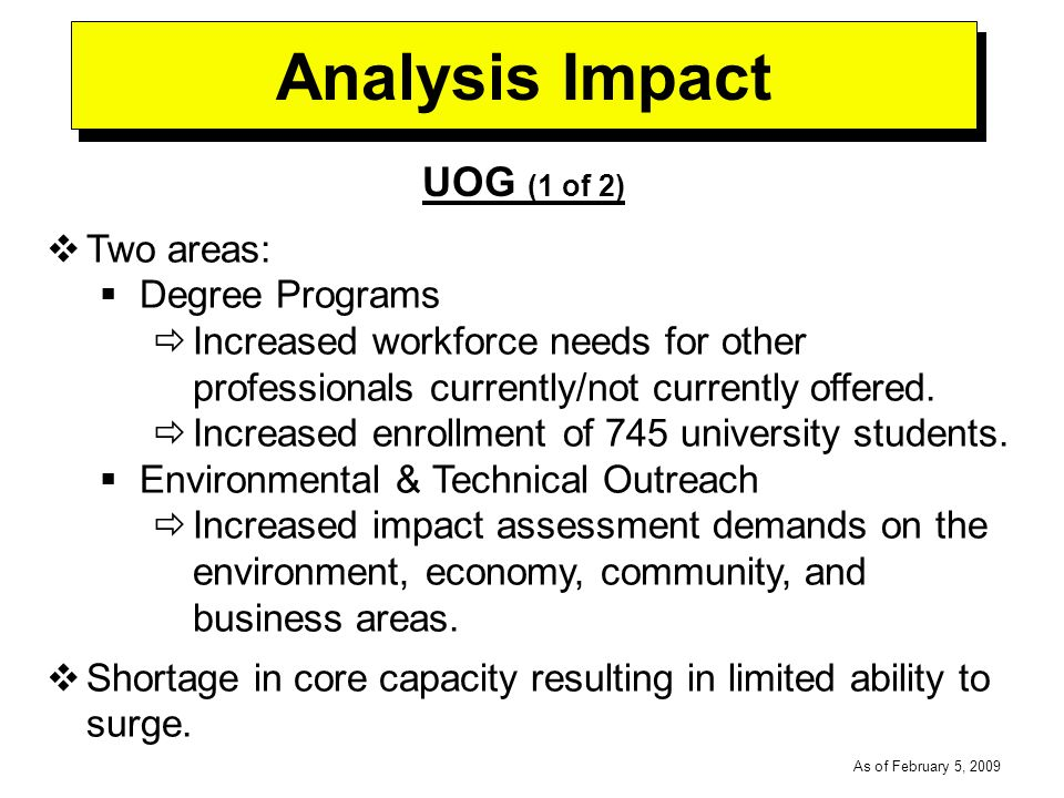 -----DRAFT----- As of February 5, 2009 Analysis Impact UOG (1 of 2) Two areas: Degree Programs Increased workforce needs for other professionals currently/not currently offered.