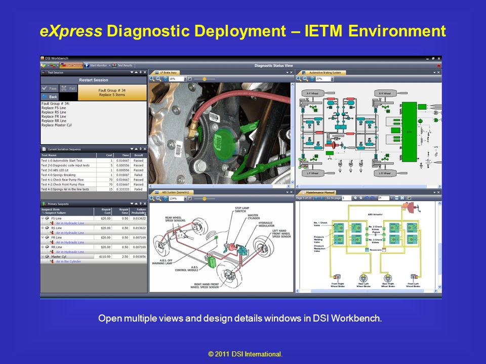 eXpress Diagnostic Deployment – IETM Environment Open multiple views and design details windows in DSI Workbench.