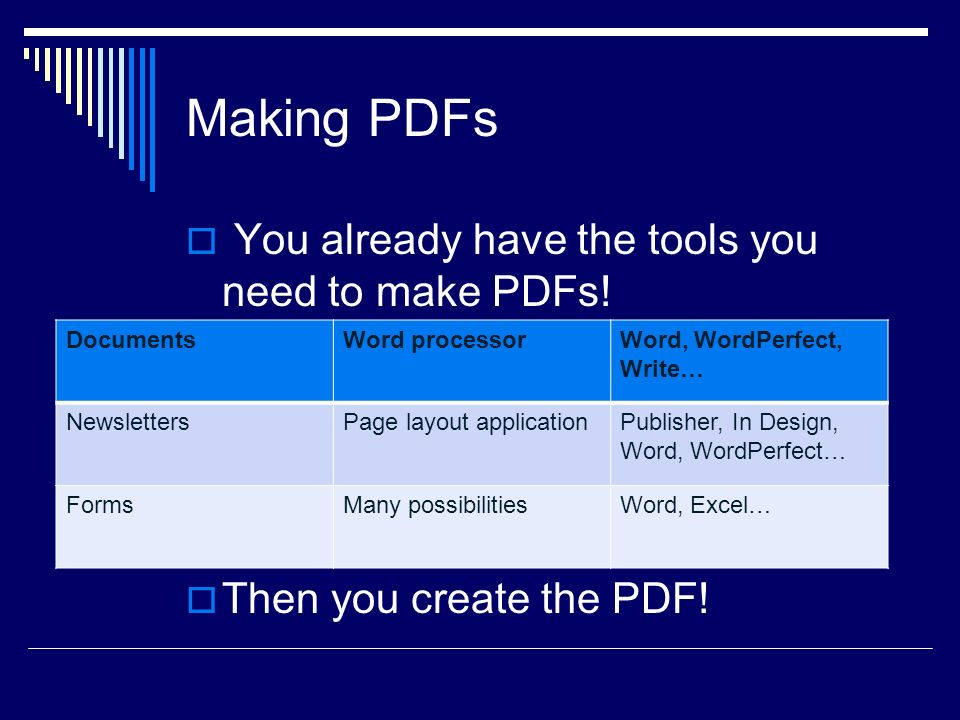 Making PDFs You already have the tools you need to make PDFs.