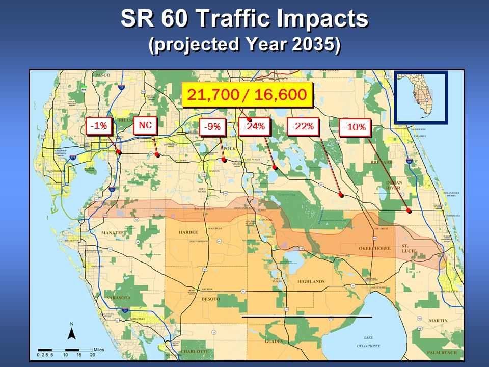 -10% -22% -24% -9% NC -1% SR 60 Traffic Impacts (projected Year 2035) 21,700 / 16,600