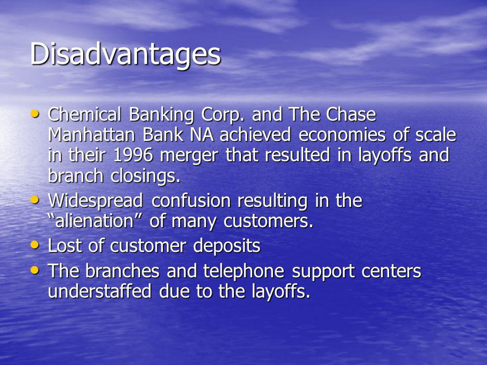 Disadvantages Chemical Banking Corp.